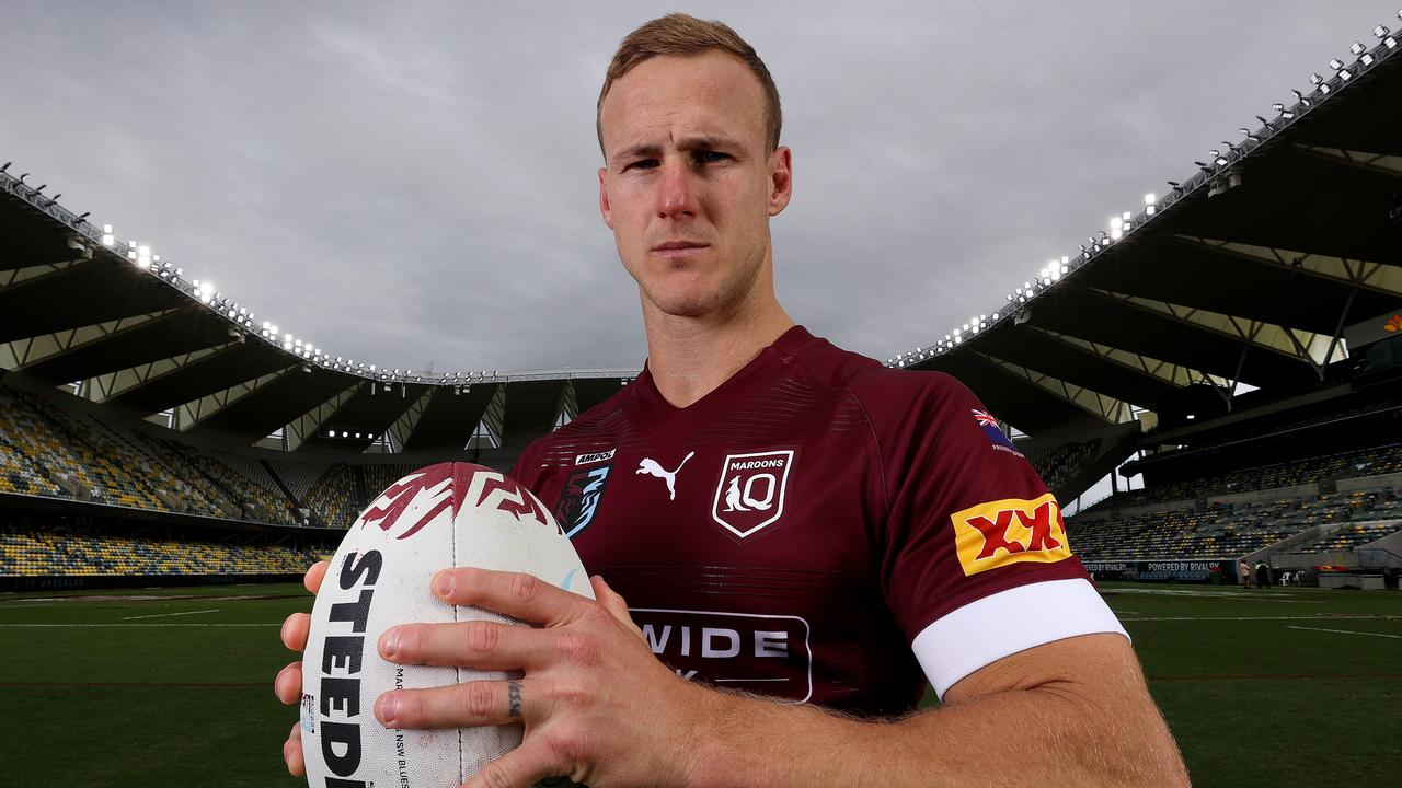 COURIER MAIL P1, NO INTERNET BEFORE MIDNIGHT Queensland captain Daly Cherry-Evans at Queensland Country Bank Stadium in Townsville ahead of State of Origin game 1. Pics Adam Head