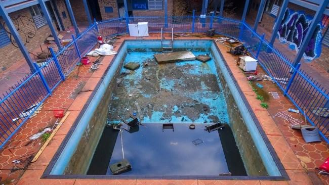 The rather enticing swimming pool. Picture: YouTube