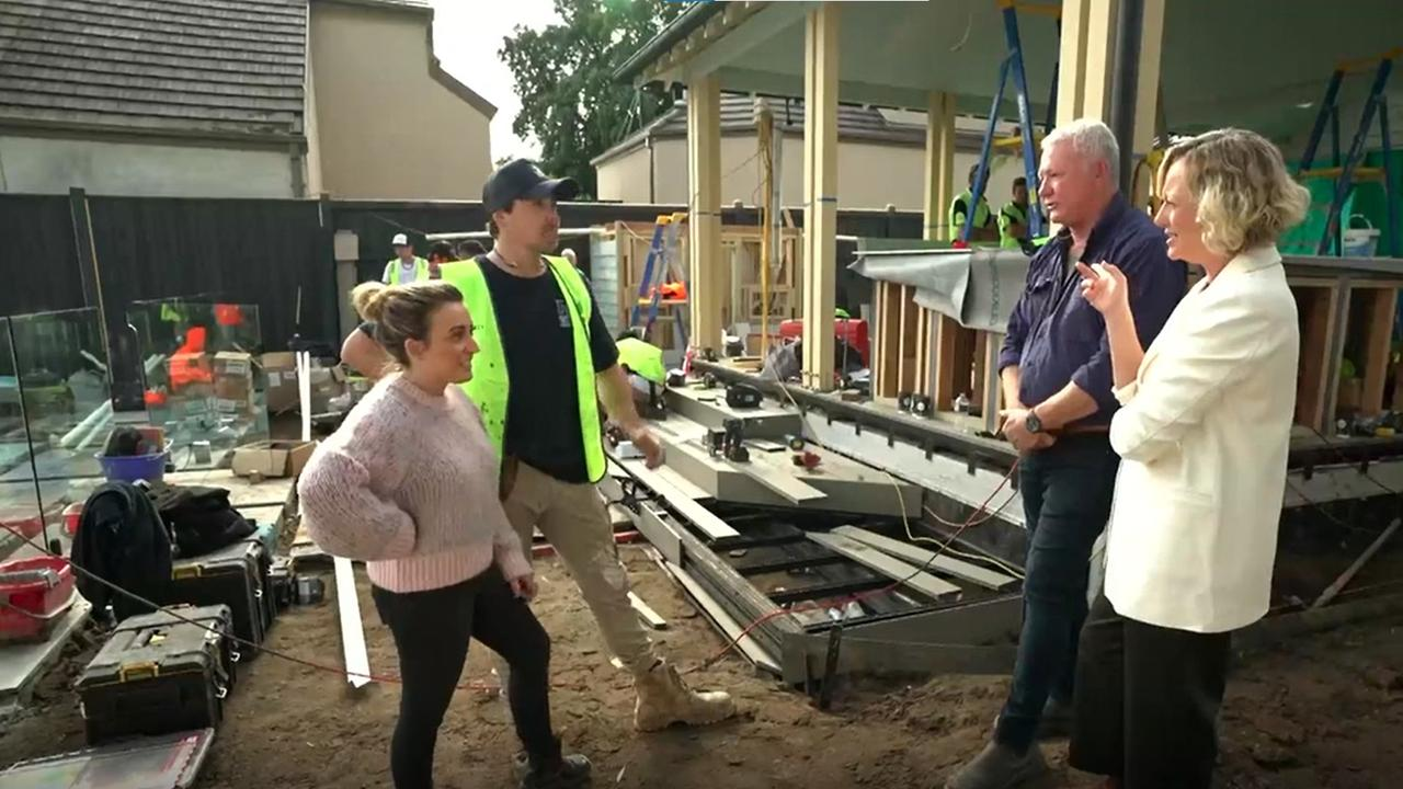 Kirsty and Jesse defend their backyard spending to Scott Cam and Shelley Craft. Picture: Channel 9