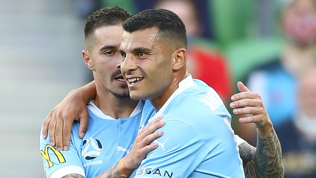 Jamie Maclaren and Andrew Nabbout celebrated Melbourne City's win over Sydney FC at AAMI Park. Picture: Robert Cianflone