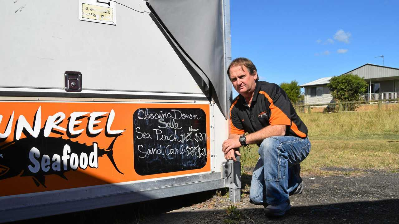Ivan Jensen, owner Unreel Seafoods, with his mobile truck and trailer at Chatsworth. Picture: Scott Kovacevic