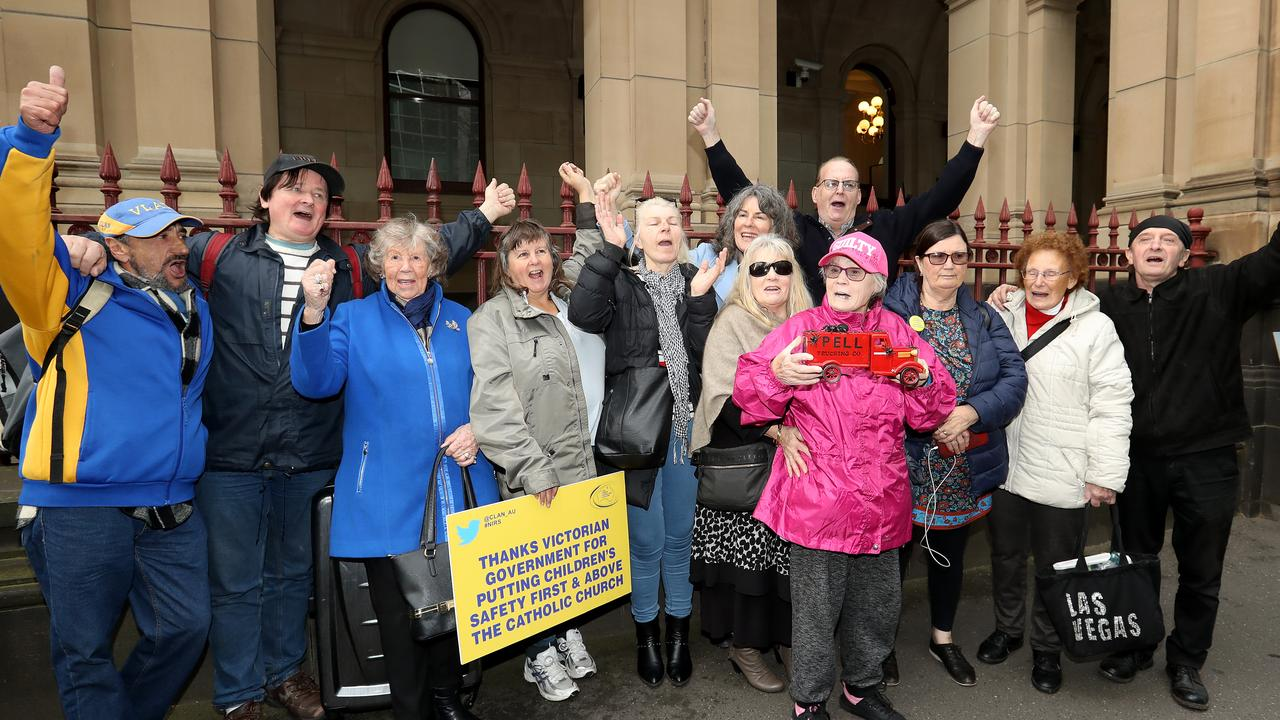 Abuse victims and supporters celebrate the rejection of Pell's appeal. Picture: Robert Cianflone/Getty Images