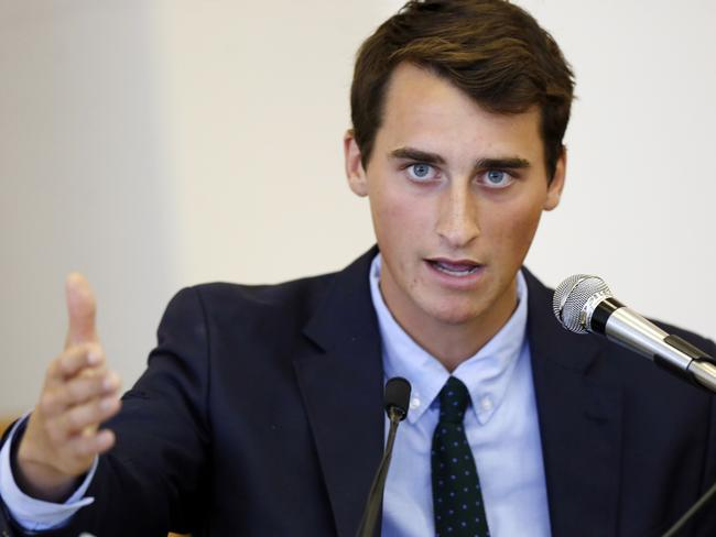 Former St. Paul's School student Tucker Marchese testifies on Monday, Aug. 24. Mr Marchese collaborated with Mr Labrie on the list of girl's names. Picture: Jim Cole