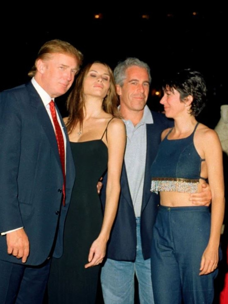 Epstein parties with Donald and Melania Trump and then-girlfriend Ghislaine Maxwell in 2000. Picture: Getty