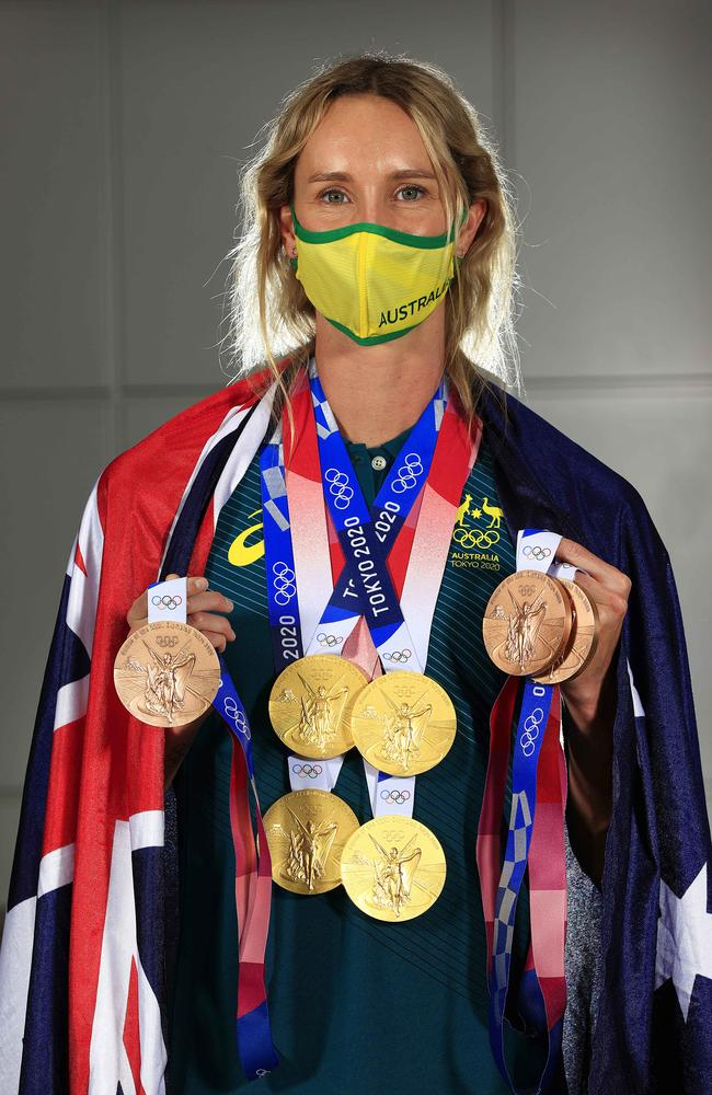 GOAT Olympic swimmer Emma McKeon shows off her Tokyo 2020 medal haul during a press conference. Picture: Adam Head