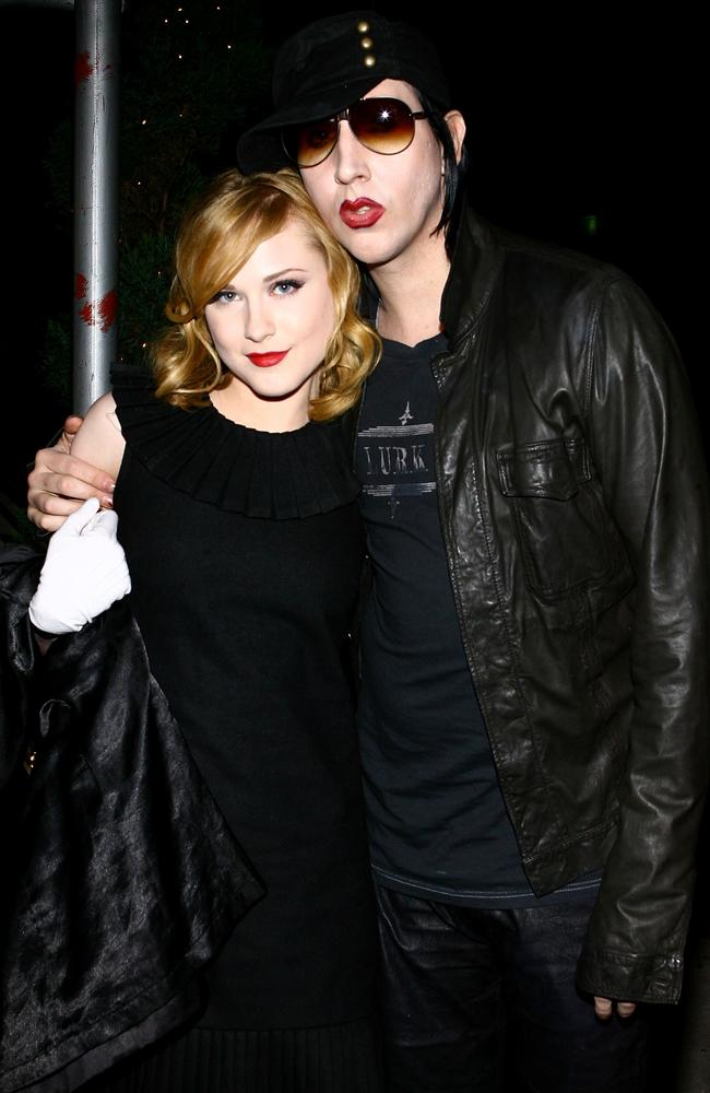 Actress Evan Rachel Wood and Manson in 2007. Picture: Getty/AFP