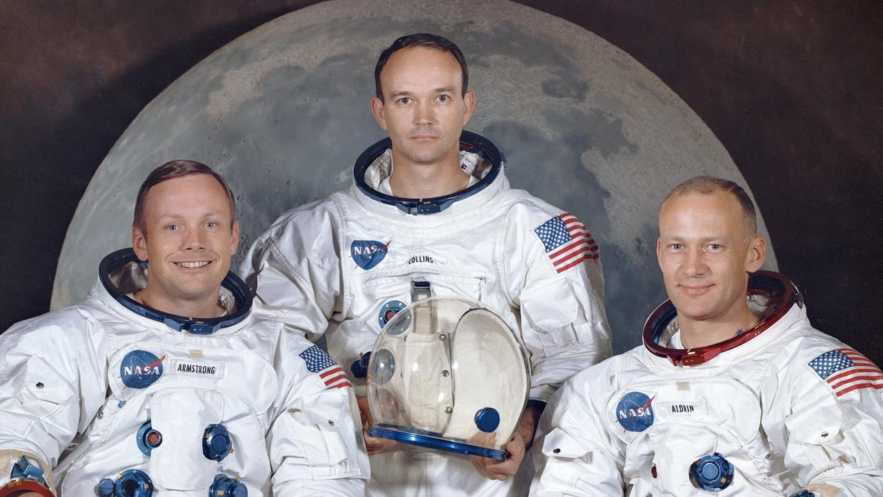 "Never-before-heard audio tapes reveal the crew of the Apollo 11 mission, from left, Neil Armstrong, Michael Collins and Edwin ""Buzz"" Aldrin were gloomy about their chances of success to land on the moon. Picture: NASA"