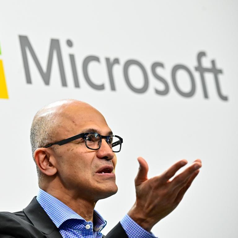 Microsoft CEO Satya Nadella is coincidentally in Australia today. Picture: Tobias Schwarz / AFP
