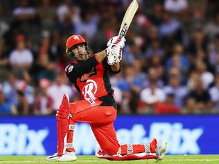MELBOURNE, AUSTRALIA - JANUARY 30: Mohammad Nabi of the Renegades bats during the Big Bash League match between the Melbourne Renegades and Sydney Thunder at Marvel Stadium on January 30, 2019 in Melbourne, Australia. (Photo by Michael Dodge/Getty Images)