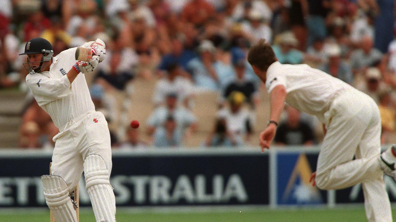 Cricketer Mike Atherton batting a Glenn McGrath ball. Cricket - Australia vs England Third test at Adelaide Oval 12 Dec 1998. a/ct /Cricket/Australia/vs/England Picture: Hillyard Phil