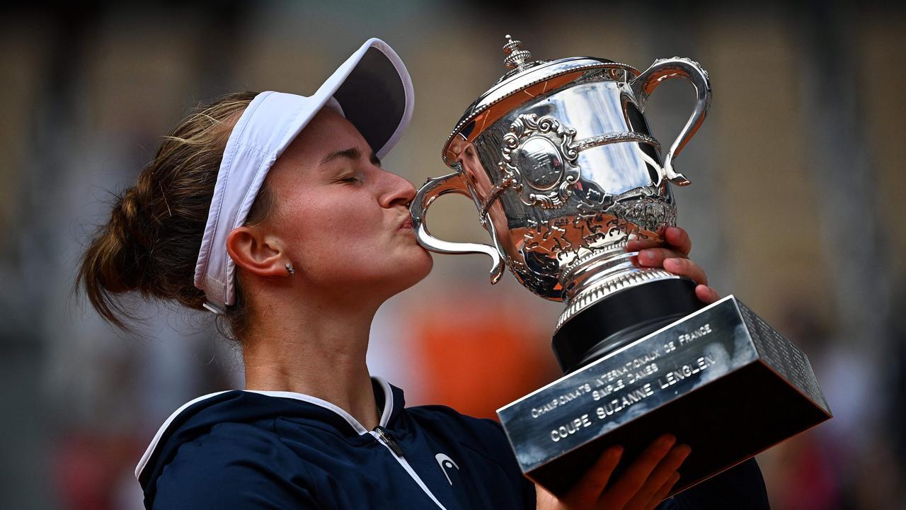 Czech Republic's Barbora Krejcikova celebrates her maiden French Open victory.