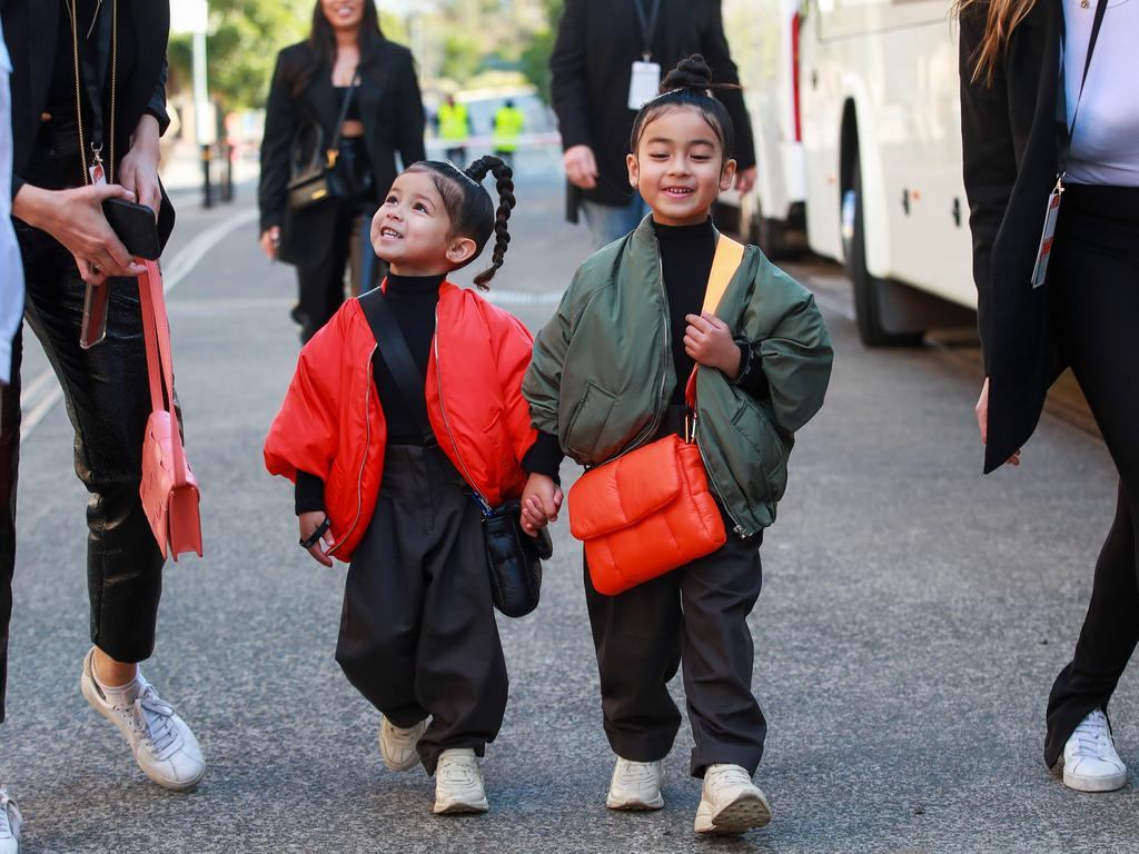 Sister mini influencers Tatiana, 3, and Mia Escalante, 5, who are 3 years and 5 years old, at the Next Gen show during Afterpay Australian Fashion Week, Sydney, today. Picture: Justin Lloyd.