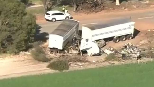 The semi-trailer broke in two from the impact. Picture: 9 News