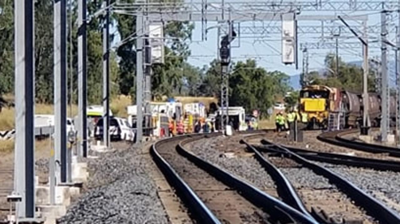 Emergency services at the scene of a train collision at Westwood, west of Rockhampton.