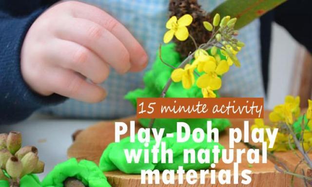 Play-Doh play using natural materials