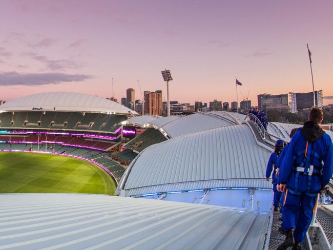 1. CLIMB TO THE TOP While the footy season is on hold, high-flying is left to the small groups carefully making their way across the top of the grandstands at Adelaide Oval. See the hallowed turf from a completely different perspective, as well as one of the best views from city to sea. Picture: SA Tourism