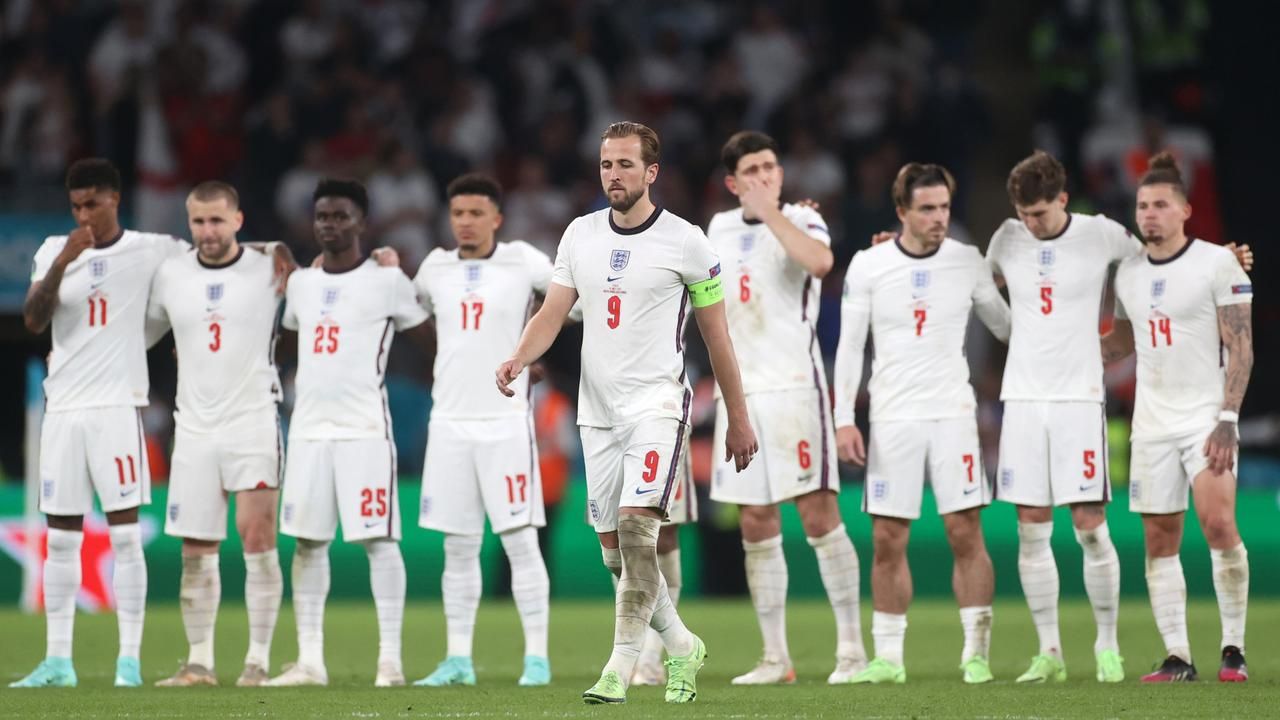 LONDON, ENGLAND - JULY 11: Harry Kane of England walks to take his penalty during a penalty shoot out during the UEFA Euro 2020 Championship Final between Italy and England at Wembley Stadium on July 11, 2021 in London, England. (Photo by Carl Recine - Pool/Getty Images)