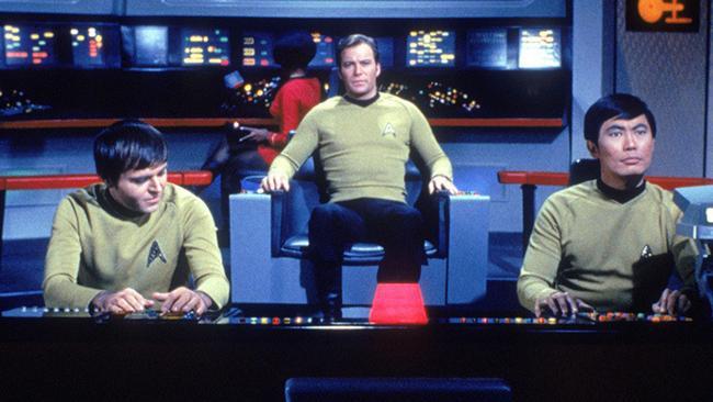 Historic feud ... Walter Koenig, William Shatner and George Takei in Star Trek.