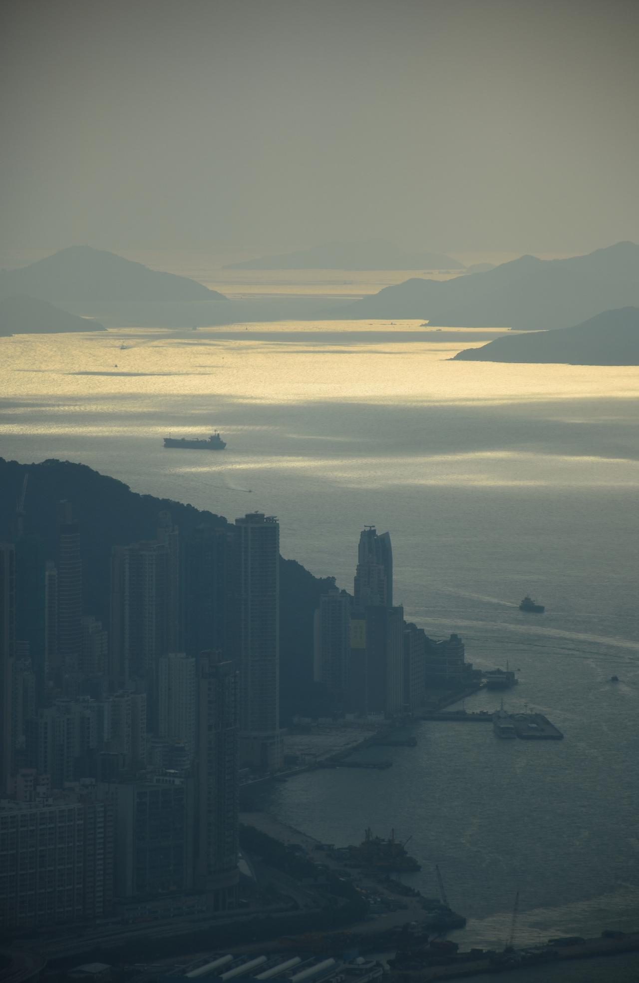 ESCAPE: View from Bar and Lounge in The Ritz Carlton Hong Kong. Picture: Simon Tsang