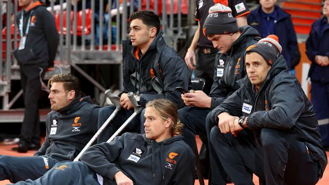 Stephen Coniglio, Harrison Himmelberg, Tim Taranto, Jacob Hopper and Brett Deledio can only watch on during a Giants game this season. Picture: Getty Images