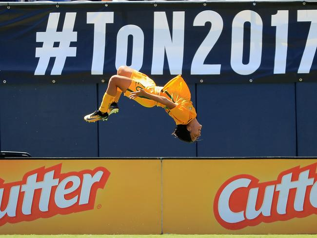 Matildas star Sam Kerr performs her trademark backflip after she scored against Japan at the Tournament of Nations.