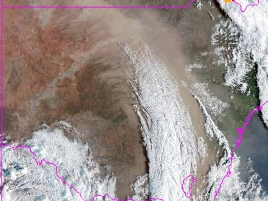 This satellite image from BOM shows the length of the dust storm.
