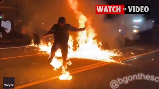 Watch: Portland Protester accidentally sets himself on fire