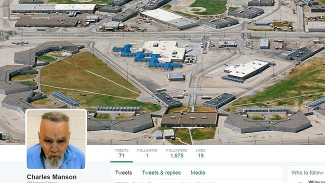 Manson's Twitter page, maintained by fans, with an aerial of Corcoran State Penitentiary. Picture: Twitter.