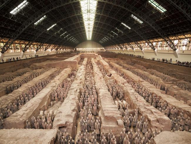 It's estimated the excavated pits contain more than 8000 figures, each life-size and with their own facial characteristics and expressions. Poised in battle about 40 minutes outside of Xi'an, the capital of China's Shaanxi province, the terracotta warriors are one of China's national treasures.