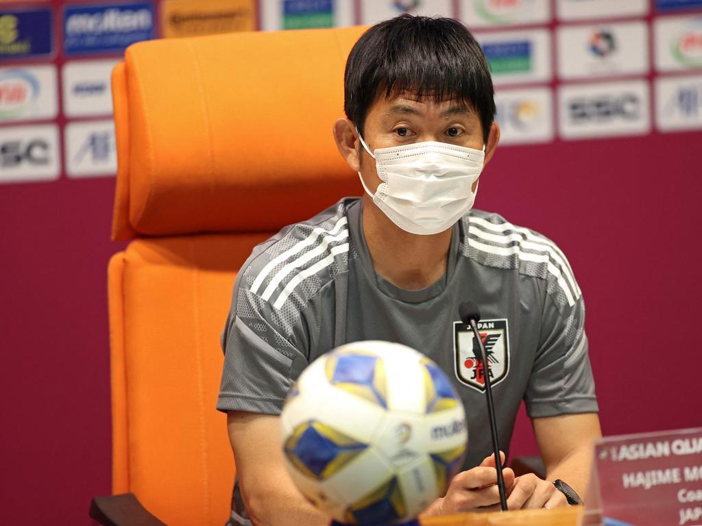 Japan coach Hajime Moriyasu is under pressure. Picture: AFP
