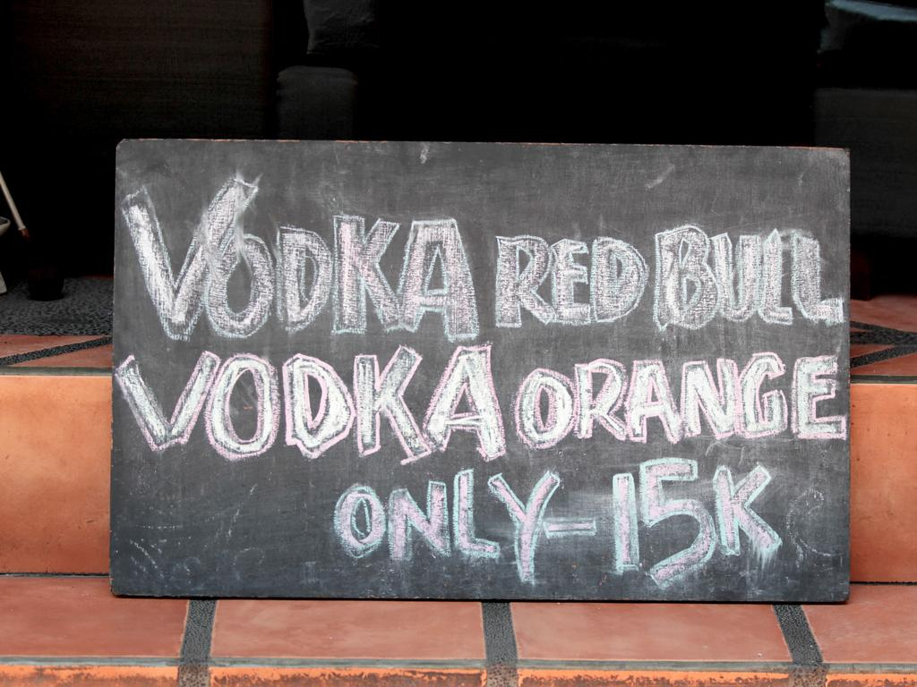 Very cheap drinks have been part of the attraction for school-leavers to Kuta. Picture: Nathan Edwards