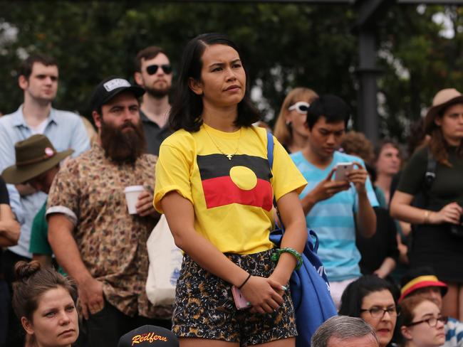 """Up to 3,000 people are believed to have turned out at the """"Invasion Day"""" rally. Picture: John Grainger"""