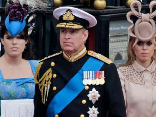 Prince Andrew got his daughters Princess Eugenie (left) and Princes Beatrice (right) mixed up. Image: AP Photo/Gero Breloer.