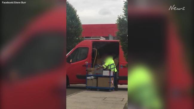 Postman's 'disgraceful' act caught on camera