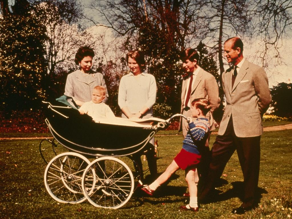 Queen Elizabeth II and The Prince Philip, Duke of Edinburgh with their children (right to left); Charles Prince of Wales, Prince Andrew, Prince Edward and Princess Anne celebrating the Queen's 39th birthday at Windsor. Picture: Keystone/Getty Images